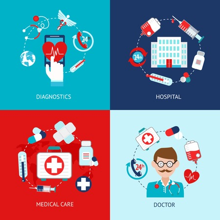 Medical emergency first aid health care icons flat set isolated vector illustration Vector
