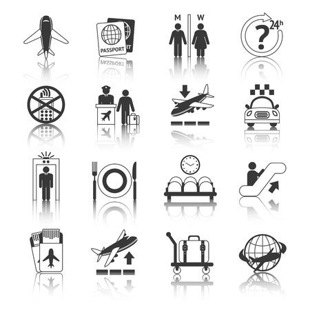 air traffic: Airport travel black and white icons set with plane security check baggage control isolated vector illustration