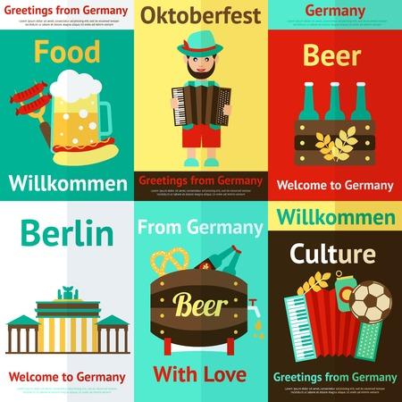 comida alemana: Alemania viajan cultura alimentaria tradicional y atracciones cartel retro conjunto aislado ilustración vectorial