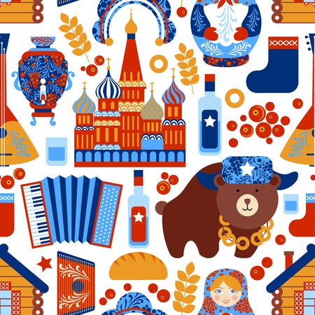 samovar: Russia travel food alcohol architecture seamless pattern vector illustration Illustration