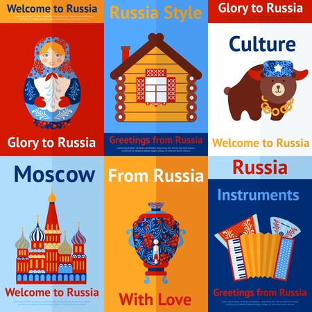 russian food: Welcome to Russia travel retro poster set isolated vector illustration