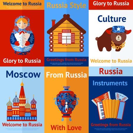 matrioshka: Welcome to Russia travel retro poster set isolated vector illustration