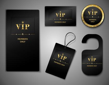 sellos: Vip miembros platino s�lo prima tarjetas elegantes de dise�o negro plantilla de conjunto de ilustraci�n vectorial aislado