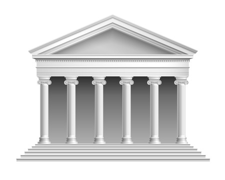 doric: Realistic antique temple with ionic colonnade isolated on white background vector illustration