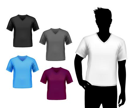 カラー v ネック ファッション男分離シルエット ベクトル イラストの t シャツ男性セット