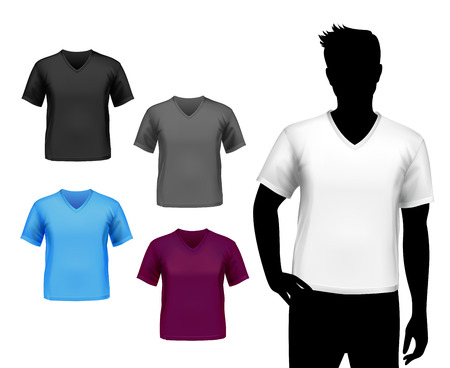 Colored v-neck fashion t-shirts male set with man silhouette isolated vector illustration Иллюстрация