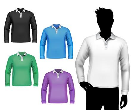 Gekleurde polo lange mouw t-shirts mannelijke set met geïsoleerde man lichaam silhouet vector illustratie