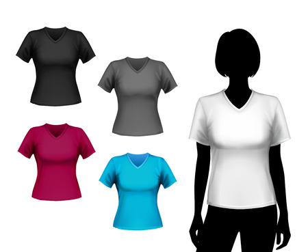 v neck: Colored v-neck t-shirts female set with woman body silhouette isolated vector illustration