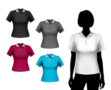 polo t shirt: Colored polo short sleeve t-shirts female set with woman body silhouette isolated vector illustration