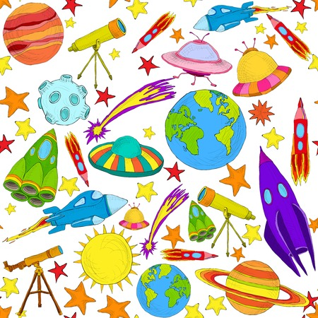 earth cartoon: Space and astronomy planets and rockets hand drawn colored seamless pattern vector illustration