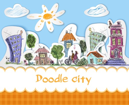 coloured background: City colored doodle poster with modern and old urban buildings vector illustration