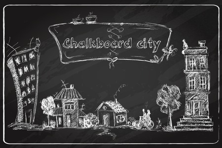 real estate people: Chalkboard city doodle poster with modern and old urban buildings in frame vector illustration. Illustration