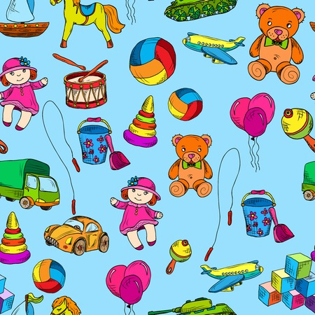 pail tank: Vintage kids toys sketch colored seamless pattern with doll bucket pyramid vector illustration.