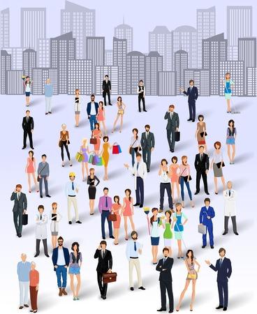 foules: Grande foule groupe de personnes sur toits de la ville vecteur de fond illustration affiche