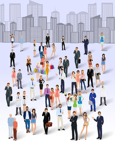 Large group crowd of people on city skyline background poster vector illustration