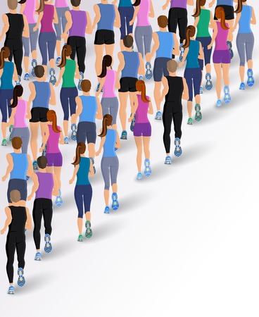 Group or running people back view background vector illustration Vector
