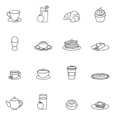 Breakfast food and drink icon outline set with cereal toast butter isolated vector illustration Vector
