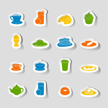 milk tea: Breakfast food and drink icon sticker set with coffee milk and orange juice isolated vector illustration