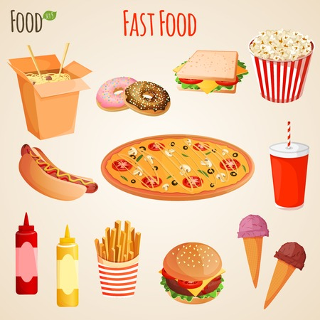 Fast junk food iconen platte set van patat hamburger frisdrank drinken geïsoleerd vector illustratie Stock Illustratie