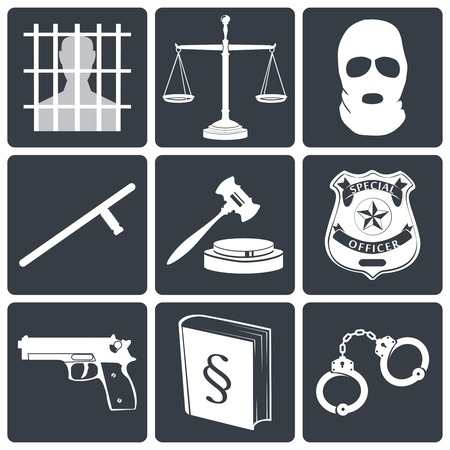 legal court: Law legal justice white on black icons set with jail scales and mask isolated vector illustration