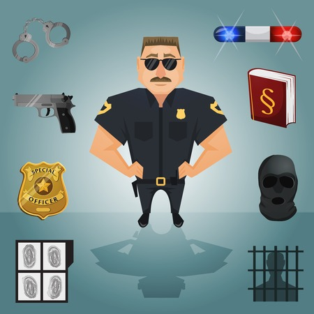 police badge: Policeman character with law and crime icons vector illustration