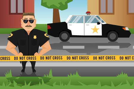 police line do not cross: Policeman on crime scene with patrol car on background vector illustration