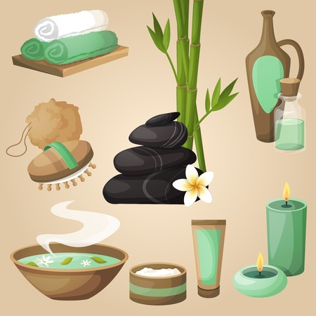 beauty care: Spa healthcare salon therapy relax natural products beauty care icons set isolated vector illustration