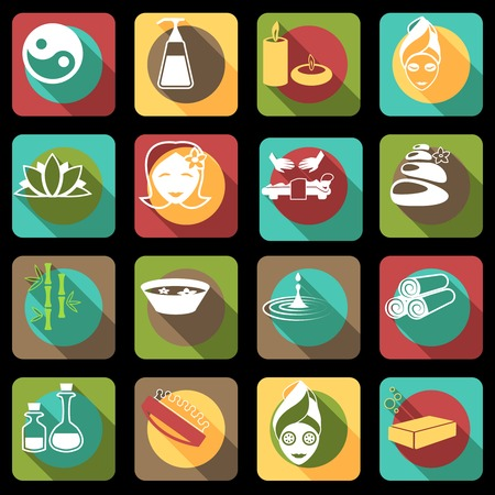 Spa healthcare salon herbal therapy relax beauty care products flat icons set isolated vector illustration Vector