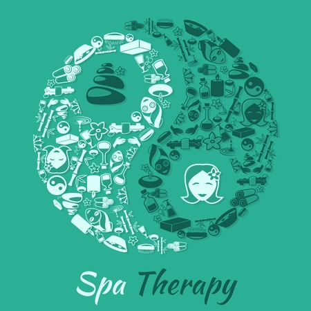 rock salt: Spa healthcare salon therapy concept with zen symbol and wellness icons vector illustration