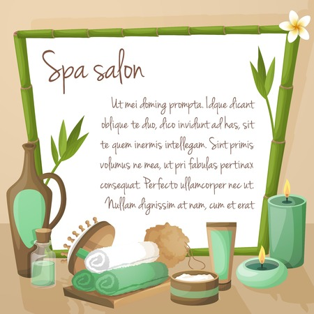 massage spa: Spa salon background with bamboo frame and therapy products vector illustration