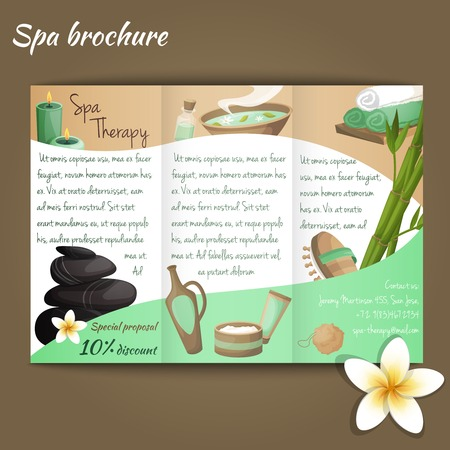 Spa salon discount brochure with beauty and health products vector illustration