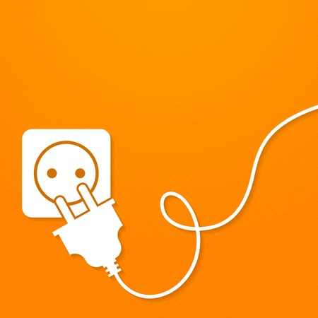 electric outlet: Electricity icon flat with plug and socket on orange background vector illustration Illustration