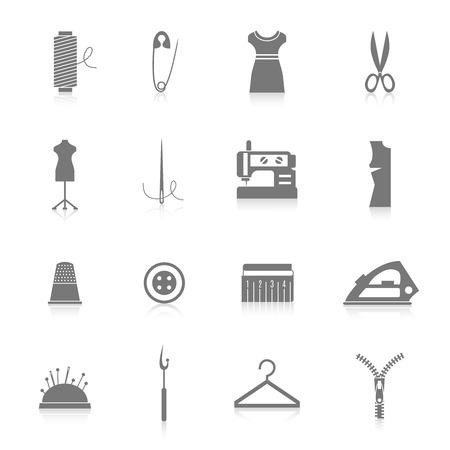maquinas de coser: Equipo de costura a medida y accesorios iconos conjunto con la cremallera de hierro hilo de aguja negro, ilustración vectorial