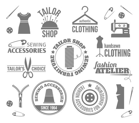 Sewing equipment fashion tailor accessories black labels set isolated vector illustration Ilustracja