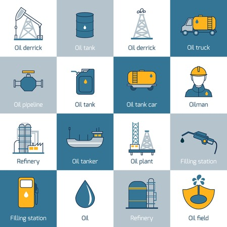 Oil gas fuel and petroleum flat line icons set with refinery tanker barrel isolated vector illustration