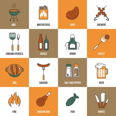 Bbq grill party utensil flat line icons set with beer chicken salt and pepper isolated vector illustration Vector