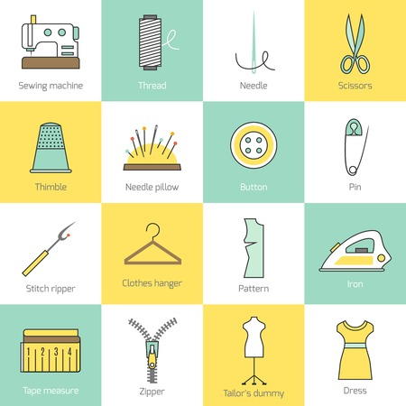 máquina de coser: El equipamento de costura y costura a medida accesorios iconos de líneas planas establecen con cremallera aislado botón hilo de la aguja ilustración vectorial