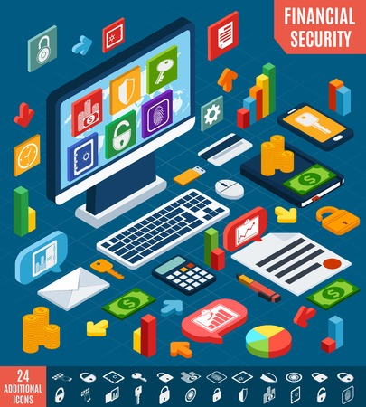 Isometric financial securities and business elements set vector illustration Vector