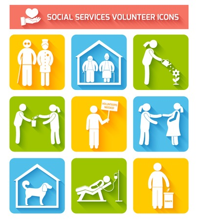 orphan: Social foundations donation services and volunteer icons set flat isolated vector illustration Illustration