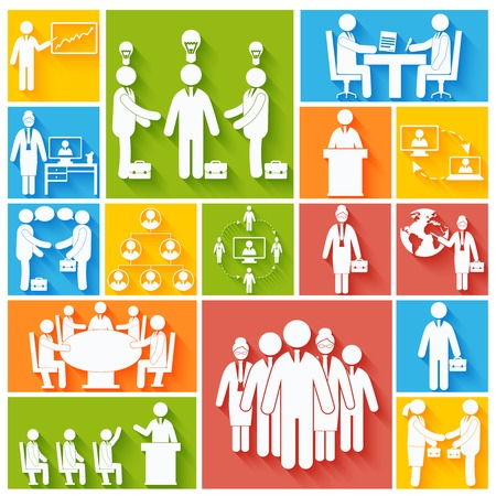 Business meeting teamwork corporate work flat icons set isolated vector illustration