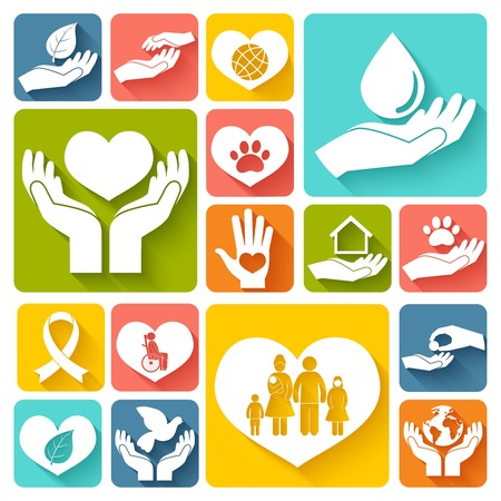 Charity donation social services emblems flat icons set isolated vector illustration Illustration