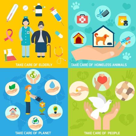 trabajo social: Caridad servicios de ayuda social, y los iconos de voluntariado establecen plana aislado ilustración vectorial Vectores