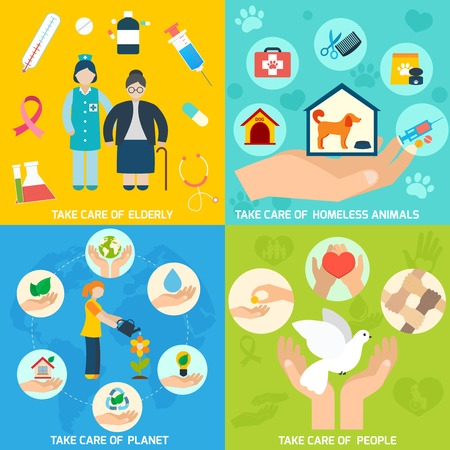responsibility: Charity social help services and volunteer work icons set flat isolated vector illustration
