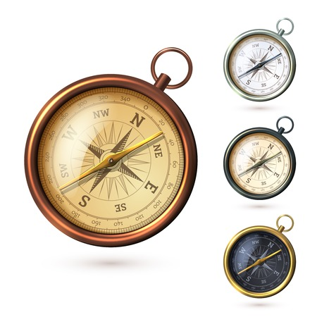 antique background: Antique retro style metal  compass set isolated on white background vector illustration
