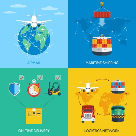 ship parcel: Logistic network airmail maritime shipping on-time delivery flat icons set isolated vector illustration Illustration