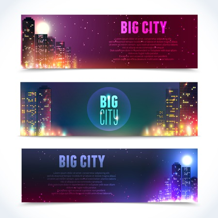 Modern urban city skyline at full moon night on dark background horizontal banners isolated vector illustration Illustration