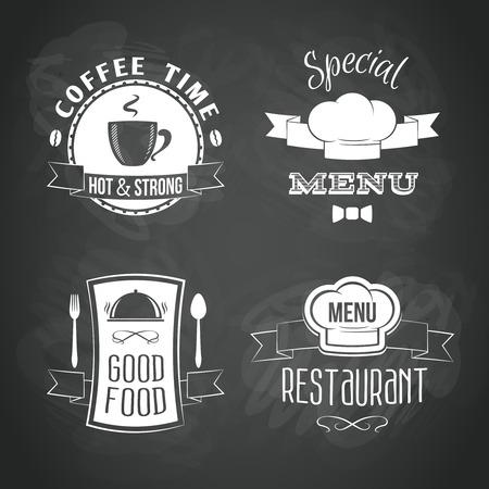 platter: Restaurant menu food and drinks emblems black chalkboard set isolated vector illustration. Illustration