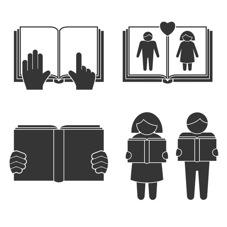 novels: Book reading icons set with black people silhouettes isolated vector illustration. Illustration