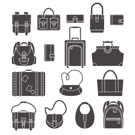 leather bag: Female fashion and luggage bags black silhouette icons set isolated vector illustration Illustration