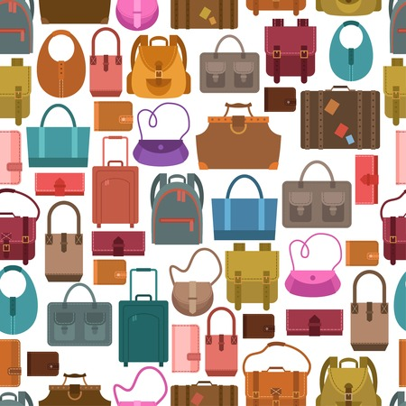 Women fashion and travel baggage bags shopping seamless pattern vector illustration Vector